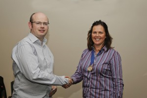 President Catherine Connolly presenting John Dineen with his Advanced Communicator Bronze (ACB) award on 10th November 2014.